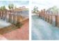 """foto_05Ricostruzione prospettica della traversa del canale Muzza (A) chiamata un tempo """"Portoni di Paullo"""", secondo le due tipologie più attendibili: quella con sei paratoie e ponte a due archi (disegno a sinistra) e quella forse precedente con dodici paratoie e ponte a tre archi (disegno a destra)."""