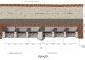 Ricostruzione grafica della traversa sul canale Muzza (A) con la tipologia delle sei paratoie. I materiali usati erano il legno, la pietra, i laterizi pieni e il ferro. Pianta.
