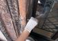 Particolare del lavoro di restauro:  consolidamento con inserimento di perni in vetroresina