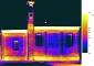 Mosaico dei termogrammi, range delle temperature 15.5-19.2°C, battuta del 6 luglio 2007. Emissività 0.92. Dati ambientali: UR  56.8%; Temperatura 16.5 °C