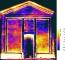 Mosaico dei termogrammi della facciata, range delle temperature 14.5 -17.6°C