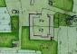 """Planimetria catastale del 1720: particolare della chiesetta di Rossate evidenziata con il mappale """"A"""" (Gio. Giacobbe Frast)"""