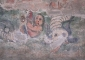 Camera sepolcrale: un particolare degli affreschi durante il restauro