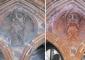 Medaglione in cotto prima e dopo il restauro