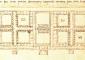 01_ Planimetria generale dell'Ospedale, 1451 ca. (Firenze, Biblioteca Nazionale, Magliabechiano, foglio 82v). A sinistra la crociera delle donne; al centro il cortile della chiesa; a destra la crociera degli uomini. Del progetto fu realizzato soltanto il quadrilatero di destra.