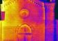 Mosaico dei termogrammi del prospetto ovest, battuta delle ore 7.30, 16 ottobre 2008, range delle temperature 13.6-19°C