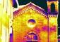 Mosaico dei termogrammi del prospetto ovest, battuta delle ore 13, 30 marzo 2009, range delle temperature 12.3-14.8°C