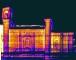 Mosaico dei termogrammi del prospetto sud, battuta delle ore 7.30, 16 ottobre 2008, range delle temperature 17.3-19.8°C