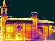 Mosaico dei termogrammi del prospetto sud, battuta delle ore 13, 30 marzo 2009, range delle temperature 15.7-12.3°C