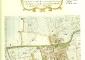 """mappa storica di Cesano Maderno con evidenza dall'area occupata dal palazzo e dal parco, 1722, tratta dalla pubblicazione  """"Il Palazzo Arese Borromeo a Cesano Maderno"""" a cura di M.L. Gatti Perer – ISAL, 1999"""