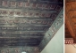 Particolare del soffitto in legno prima e dopo il restauro