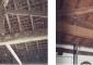 Particolare della capriata in legno prima e dopo il restauro
