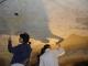 Foto volta del presbiterio in fase di rimozione a bisturi degli intonaci e delle vernici applicate nel dopoguerra. Foto © Servabo s.n.c. marzo 2007.