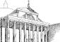 Ipotetico aspetto della facciata con la costruzione del portico ideato dall'Alessi